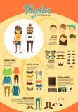 Hippie infographics mit Modegestaltungselementen Lizenzfreie Stockfotografie