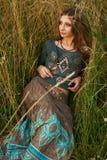 Hippie lady in the fields Stock Photo