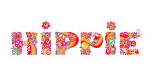 Hippie lettering with abstract colorful flowers Stock Image