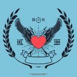 Hippie Logo Angel Heart de vintage avec le vecteur croisé de flèches Photo stock