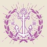 Hippie Logo Crossed Arrows de vintage avec le vecteur d'ancre Photo libre de droits