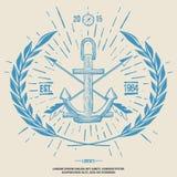 Hippie Logo Crossed Arrows de vintage avec le vecteur d'ancre Photographie stock