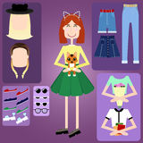 Hippie-Mädchencharakter mit Hippie-Elementen Lizenzfreies Stockbild