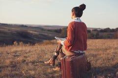 Hippie-Mädchenzeichnung Stockfotos