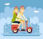Hippie-männlich-weibliches Paar-Charakter-Reiten Lizenzfreies Stockbild