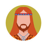 Hippie male avatar. Vector illustration of hippie male avatar Stock Images