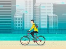 Hippie-Mann, der sein fixie Fahrrad radfährt Designcharakter Vektor Lizenzfreie Stockbilder