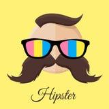 Hippie-Mann mit bunten Sonnenbrillen und dem Schnurrbart/dem Schnurrbart lizenzfreie abbildung