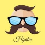 Hippie-Mann mit Gläsern und dem Schnurrbart/dem Schnurrbart Lizenzfreie Stockfotografie
