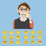 Hippie-Mann sagen das Gefühl mit intelligentem Telefon lizenzfreie abbildung