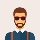 Hippie-Manncharakter mit Bart, Frisur und Gläsern in der Ebene Lizenzfreie Stockfotografie