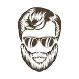 Hippie-Mannhaar und -bart Hand gezeichnete vektorabbildung Lizenzfreies Stockbild
