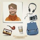 Hippie-Mannporträt mit seinem Zubehör Stockfoto