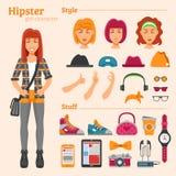 Hippie-Mädchen-Charakter-dekorative Ikonen eingestellt Lizenzfreie Stockfotos