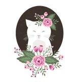 Hippie-Miezekatze mit Blumen auf Weinlese maserte Hintergrund, die gezeichnete Katzenhand Stockbild