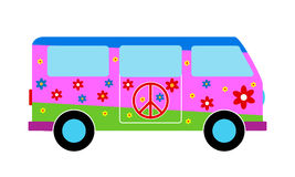 Hippie minibus. Icon on white background royalty free illustration