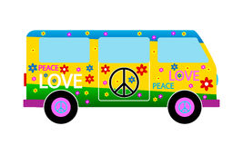 Hippie minibus. On white background stock illustration