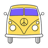Hippie minivan simple illustration with Nuclear Disarmament Pacifist symbol. Stock Images
