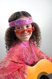 Hippie mit Gitarre Stockbild