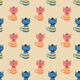 Hippie-Mode-Katzen-nahtloser Hintergrund Stockfotos