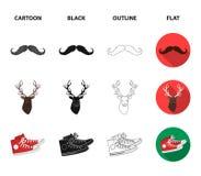 Hippie, mode, style, culture secondaire Icônes réglées de collection de style de hippie dans la bande dessinée, noir, contour, ve Illustration de Vecteur