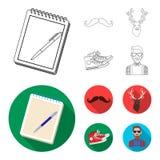 Hippie, mode, style, culture secondaire Icônes réglées de collection de style de hippie dans le contour, actions plates de symbol Photographie stock libre de droits