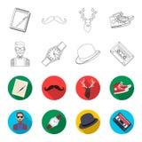 Hippie, mode, style, culture secondaire Icônes réglées de collection de style de hippie dans le contour, actions de symbole de ve Photographie stock
