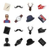 Hippie, mode, style, culture secondaire Icônes réglées de collection de style de hippie dans le noir, actions de symbole de vecte Image libre de droits