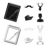 Hippie, mode, style, culture secondaire Icônes réglées de collection de style de hippie dans le noir, actions de symbole de vecte Photographie stock libre de droits