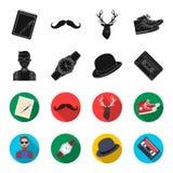 Hippie, mode, style, culture secondaire Icônes réglées de collection de style de hippie dans le noir, actions de symbole de vecte Images stock
