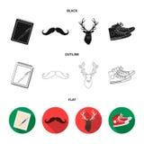 Hippie, mode, style, culture secondaire Icônes réglées de collection de style de hippie dans noir, plat, actions de symbole de ve Illustration Stock