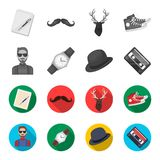 Hippie, mode, style, culture secondaire Icônes réglées de collection de style de hippie en stock monochrome et plat de symbole de Images stock