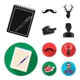 Hippie, mode, style, culture secondaire Icônes réglées de collection de style de hippie en stock noir et plat de symbole de vecte Images libres de droits