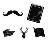 Hippie, mode, style, culture secondaire Les icônes réglées de collection de style de hippie dans le style noir dirigent l'illustr Photos libres de droits