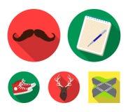 Hippie, mode, style, culture secondaire Les icônes réglées de collection de style de hippie dans le style plat dirigent l'illustr Image stock