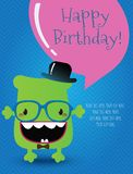 Hippie-Monster-Glückwunschkarte. Vektor-Illustration Lizenzfreie Stockfotografie