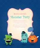 Hippie-Monster-Partei-Karte. Vektor-Illustration Lizenzfreie Stockbilder