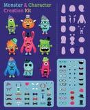 Hippie-Monster und Charakter-Schaffungs-Ausrüstung Lizenzfreie Stockfotografie