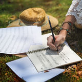 Hippie Musician Songwriter Writing Concept Stock Image