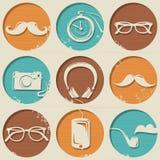 Hippie-Muster besteht aus runden Formen mit Hippie-Artelementen. Lizenzfreie Stockbilder