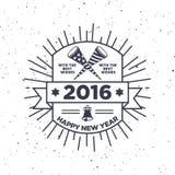 Hippie-neues Jahr 2016, Ausweis und Trompete, beunruhigter Vektor Lizenzfreie Stockfotografie