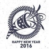 Hippie-neues Jahr 2016, Ausweis und Trompete, beunruhigter Vektor Stockfotografie