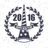 Hippie-neues Jahr 2016, Ausweis und Trompete, beunruhigter Vektor Lizenzfreies Stockfoto