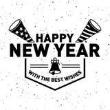 Hippie-neues Jahr 2016, Ausweis und Trompete, beunruhigter Vektor Stockbilder