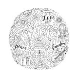 Hippie objects and symbols with lettering royalty free illustration