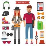 Hippie-Paar-dekorative Ikonen eingestellt Lizenzfreies Stockfoto