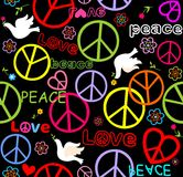 Hippie paper wrapper with peace symbols and doves Stock Photos