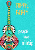 Hippie party poster. Hippy background with acoustic guitar. Gypsy ornamental design. Pacifism pattern. Illustration in zentangle style vector illustration
