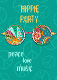 Hippie party poster. Hippy background with sun glasses. Gypsy ornamental design. Pacifism pattern. Illustration in zentangle style royalty free illustration