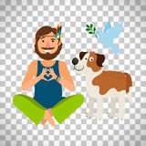 Hippie peace man with dog. Vector Illustration isolated on transparent background Royalty Free Stock Image